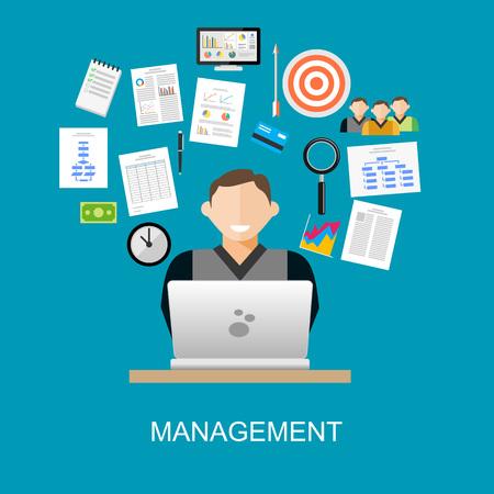 gestion empresarial: Gestión de la ilustración del concepto. la gestión empresarial, la planificación, el desarrollo.