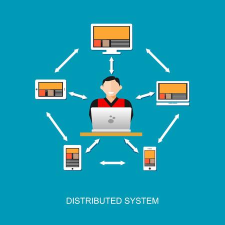 Distribuido tecnología del sistema de la ilustración del concepto. Ilustración de vector
