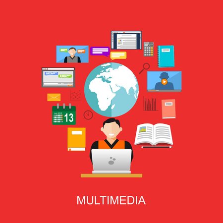 accessing: Multimedia technology. Accessing internet contents. Surfing on internet. Illustration