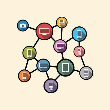 heterogeneous: Pervasive computing or distributed system concept illustration. Flat design.