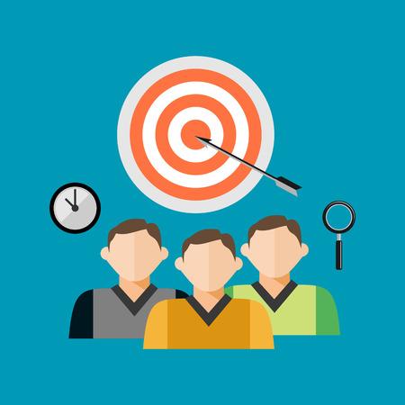teamwork: Business teamwork, Target concept.
