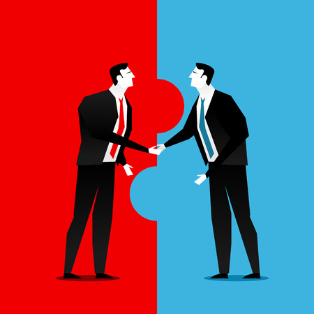 business deal: Cooperation or partnership in business. Business deal handshake. Illustration