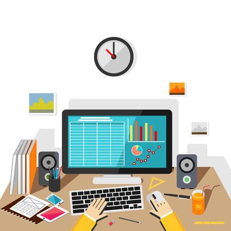Werken op het bureaublad. Business verkoop monitoring.