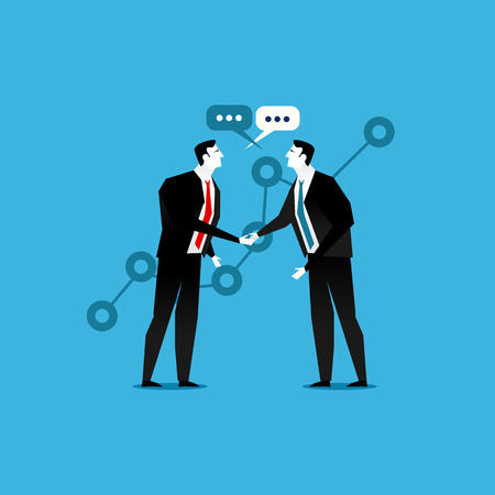 business deal: Online business deal. Business deal handshake. Cooperation or partnership. Illustration