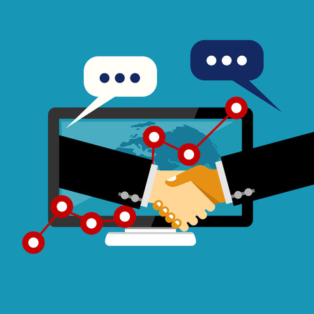 business deal: Online business deal. Business deal handshake. Cooperation or partnership. Illustration