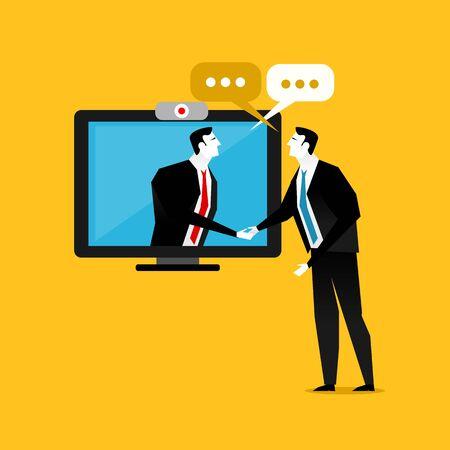 tele communication: Handshake business through the screen. Businessmen negotiation. Telecommunication. Business dealing. Illustration