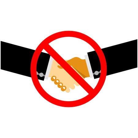 interdiction: Aucun travail d'équipe. Aucune traitant. Aucune collaboration. Handshake avec panneau d'interdiction Illustration
