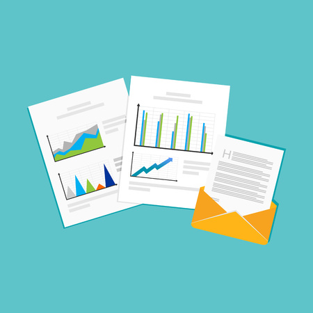 financial reports: Financial reports. Business documents. Illustration