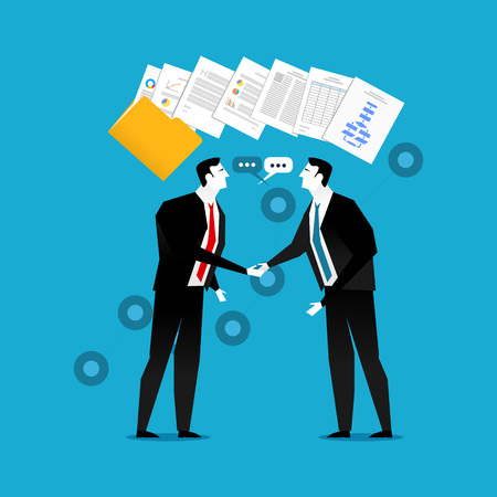 dealing: Businessman do handshaking with document contract illustration. Business partnership, agreement or dealing.