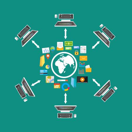 Compartición de archivos. Transferencia de archivos. Red. contenido distribuido. Almacenamiento en la nube. Foto de archivo - 59777605