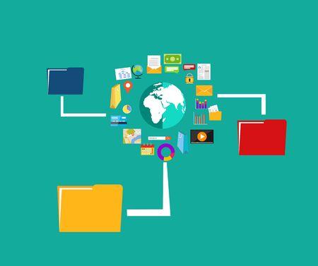 file transfer: File sharing. Data Distribution. Content management. File transfer concept. Illustration