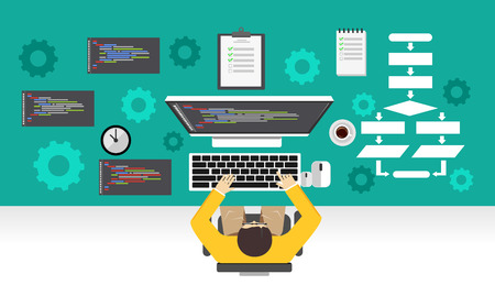 deployment: Software development. Programmer working on computer. Programming mechanism concept.