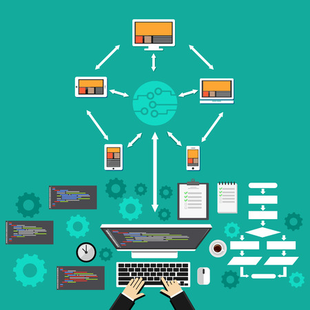 deployment: Cloud computing. Software development concept.