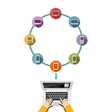 transmitting device: Connect to several computing devices. Share data each other on a cloud network. Illustration