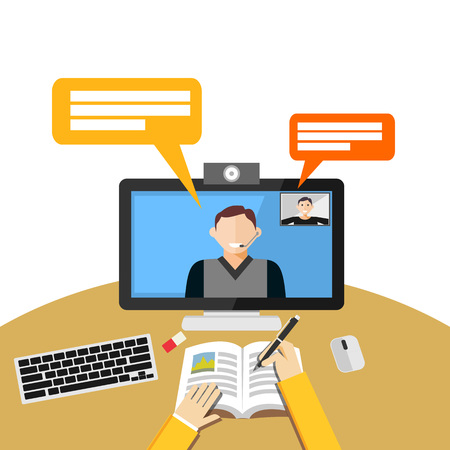 video: Video call or conference on computer. Web binar or web tutorial concept.