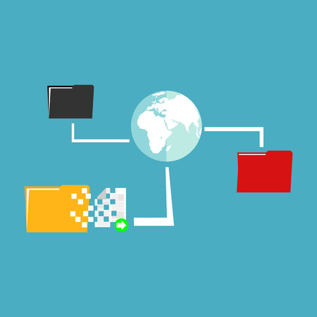 interoperability: File sharing. Data Distribution. Content management. File transfer concept. Illustration