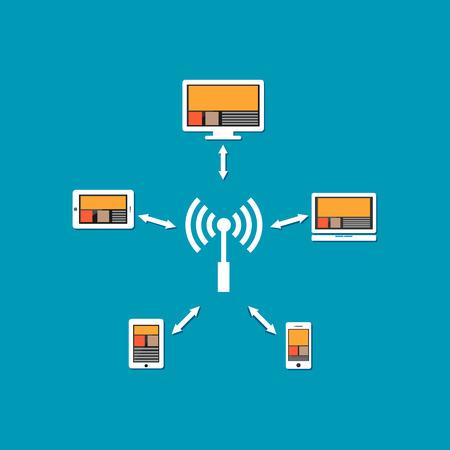 peer to peer: La comunicación inalámbrica o una conexión de red inalámbrica. Vectores