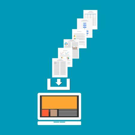 Download documenten of bestanden van internet. Download proces concept.