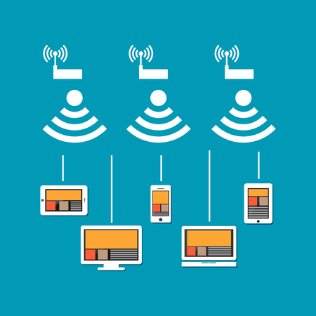 middleware: Wireless network connection concept. Wireless communication on devices. Devices connect to cloud internet using wireless signal.