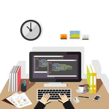 Programming on computer. Software development or coding concept.