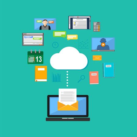accessing: Connecting to cloud computing concept. Accessing cloud contents. Multimedia internet contents.