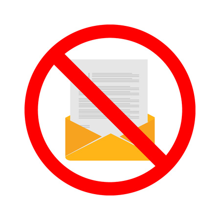 Stock vector of no email. Prohibition for sending email. No communication by email.