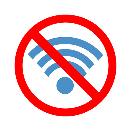 bribery: Stock vector of no wireless signal. Prohibition of wireless signal. No internet access.