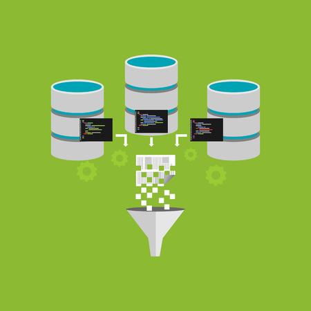 procesamiento de extracción de información digital. filtrado de información. La minería de datos o ilustración concepto de negocio inteligente.