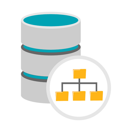 unstructured: Database management icon. Database architecture symbol. Illustration