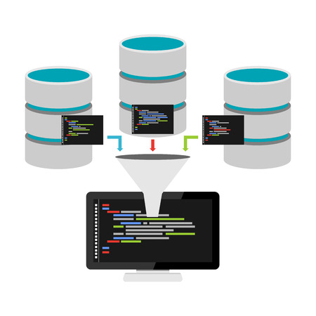 Database programming. Data mining. Big data technology concept.