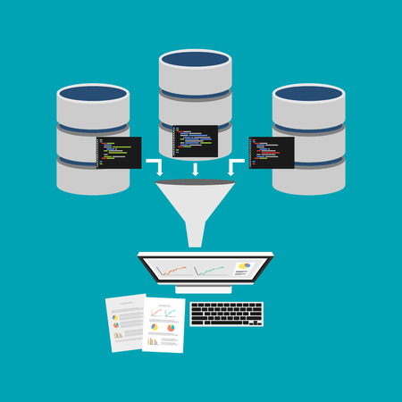 unstructured: Data mining or business intelligence processing concept. Extract information from database for decision making. Illustration