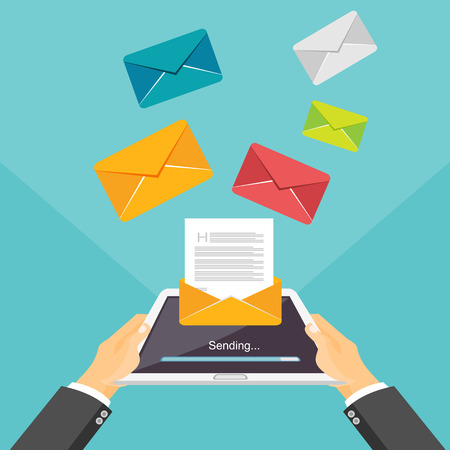 broadcast: Email illustration. Sending or receiving email by tablet or smartphone concept illustration. Email marketing. Broadcast messages.