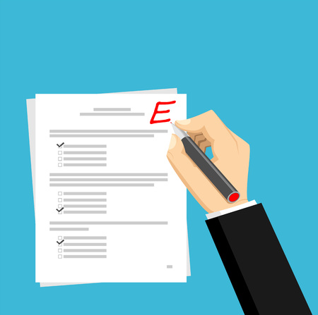 e survey: Get E for the exam. Checking in the answer of final exam concept. Score of test concept illustration.