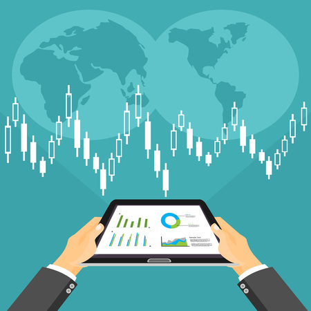 control tools: Business investment concept. Business broker analyzing stock market on the digital tablet.
