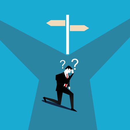 Businessman confused to choose the right direction. Confused concept. Illustration