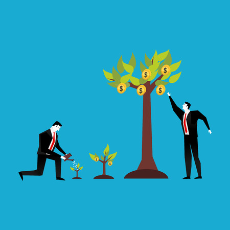 monetize: Investment concept. Business people watering and collecting profit plant. Illustration