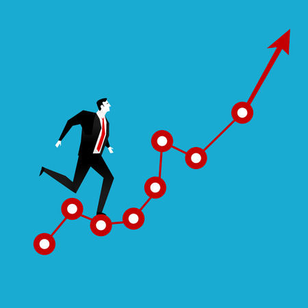 conquering adversity: Businessman running on red arrow graph up. Business vision. Illustration