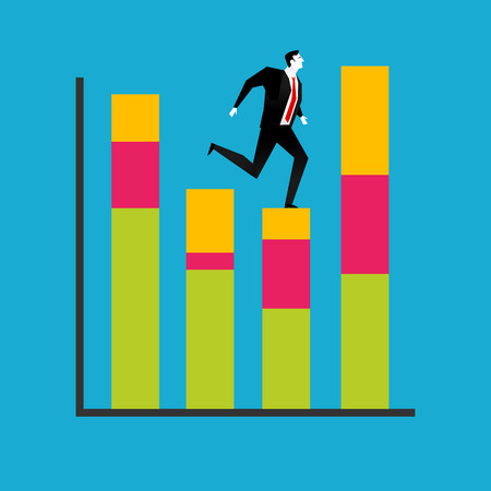 businessman jumping: Businessman jumping on a growth chart. Business Improvement concept. Illustration