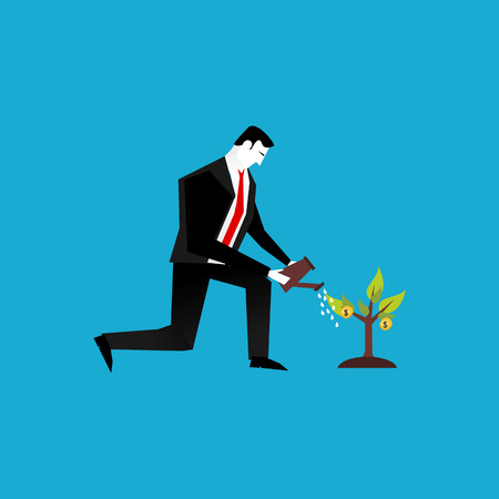 Businessman watering a plant of money. Business Investment or business vision concept. Illustration