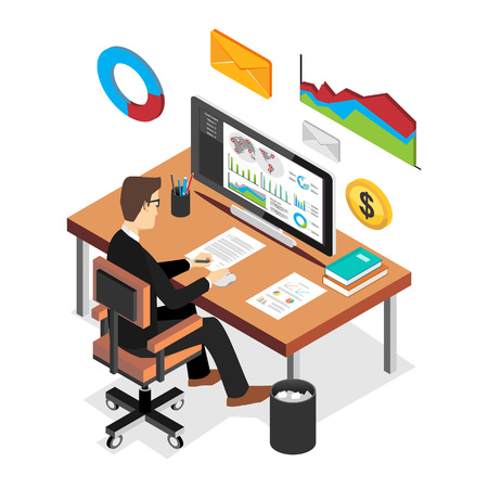 market place: Businessman analyzing financial statistics dashboard. Business intelligent concept. Flat 3d isometric business technology concept.