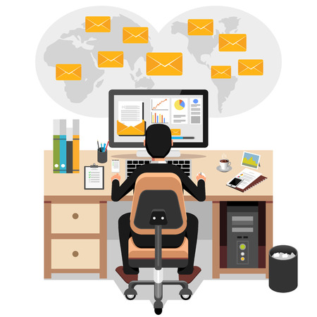 accountants: Businessman sending or receiving email. Business email marketing. Email advertisement. Illustration