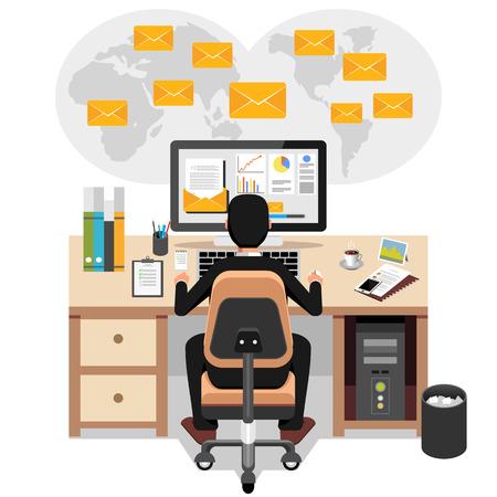 El hombre de negocios de enviar o recibir correo electrónico. marketing por correo electrónico de negocios. Anuncio de correo electrónico. Ilustración de vector