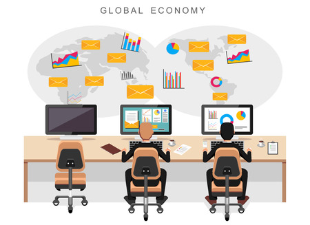 work team: Global economy or world economy. Business people monitoring international economy. Illustration