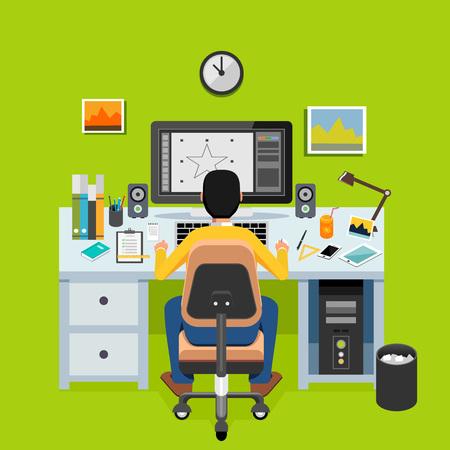 illustrators: Graphic designer or illustrator working on desktop. Freelancer concept.