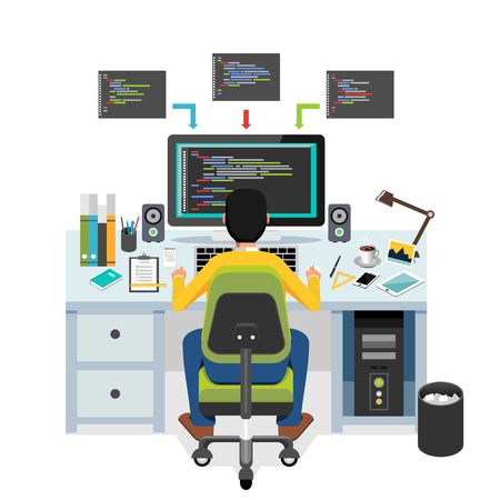 debug: Programmer working on computer. Illustration