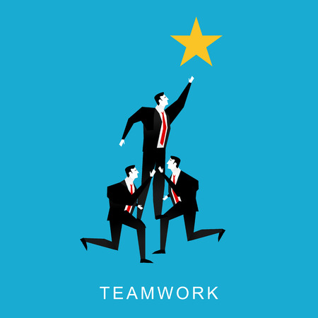 reach: Cooperation or teamwork concept illustration. Teamwork businessmen pyramid to reach star. Illustration