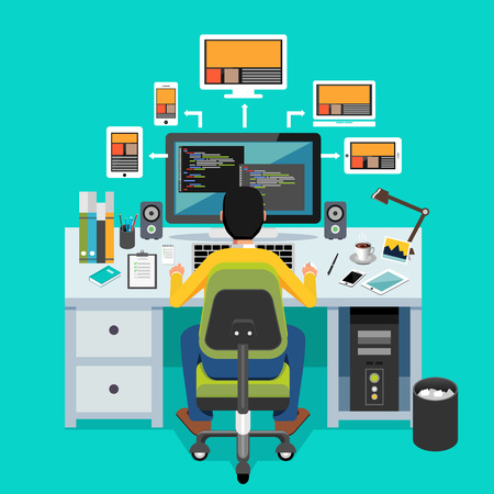 prototipo: Diseñador web. Programador que trabaja en el escritorio. Vectores