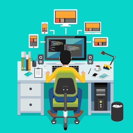 desktops: Website designer. Programmer working on desktop.