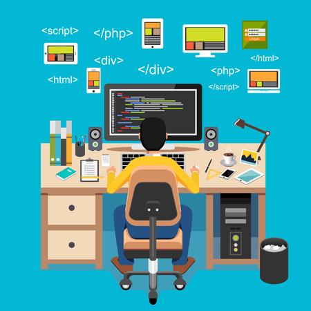 algorithm: Web developer. Website development. Programmer working on computer.