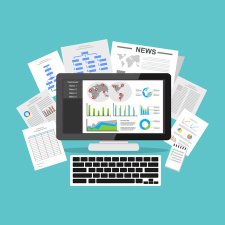 visualization: Business intelligence dashboard application. Data visualization on desktop screen. Illustration